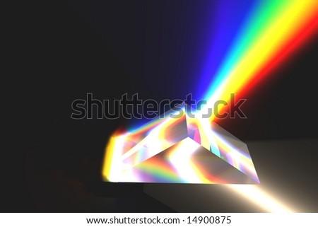 Optical prism (Rendering) - stock photo