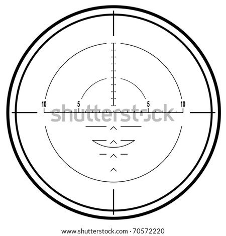 Optical sniper rifle sight isolated on white background - stock photo
