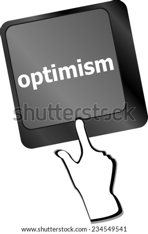 optimism button on the keyboard close-up - stock photo