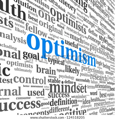 Optimism concept in word tag cloud isolated on white - stock photo