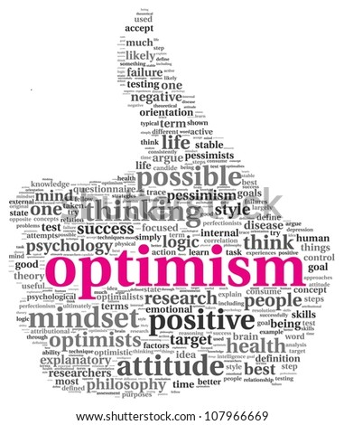 Optimism concept in word tag cloud of thumb up symbol - stock photo