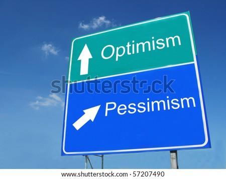OPTIMISM--PESSIMISM road sign - stock photo