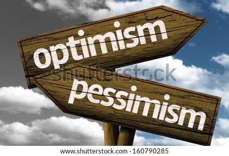 Optimism x Pessimism creative sign with clouds as the background - stock photo