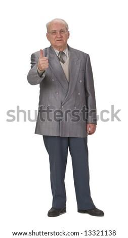 Optimist senior man with thumb up against a white background. - stock photo