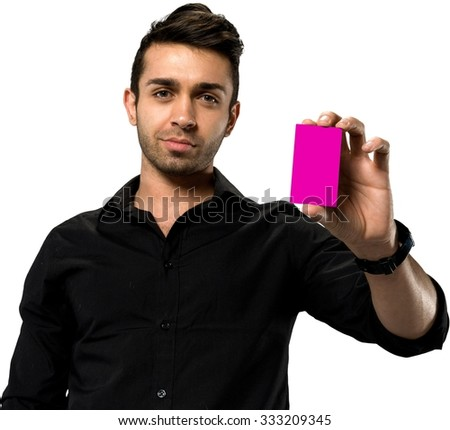 Optimistic Caucasian man with short black hair in casual outfit holding business card - Isolated - stock photo
