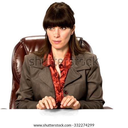 Optimistic Caucasian woman with long dark brown hair in business formal outfit typing on imaginary prop office chair - Isolated