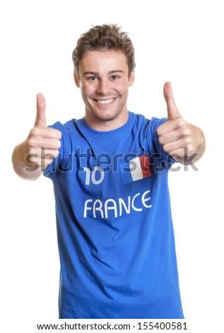 Optimistic french soccer fan - stock photo