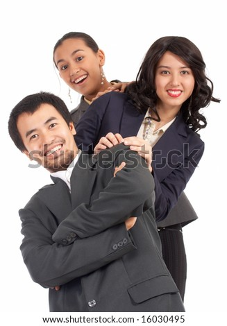 optimistic young businesspeople on a white background - stock photo