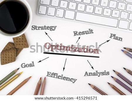 Optimization concept on white office desk - stock photo