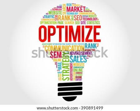 OPTIMIZE bulb word cloud, business concept - stock photo