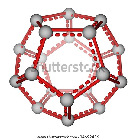 Optimized molecular structure of fullerene C20 on a white background - stock photo