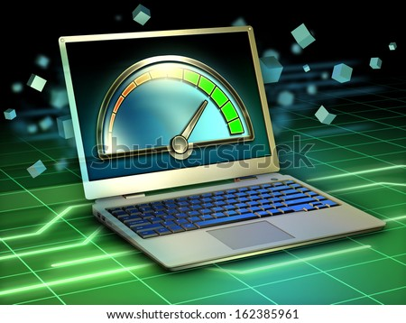 Optimizing the performance of a laptop computer. Digital illustration. - stock photo