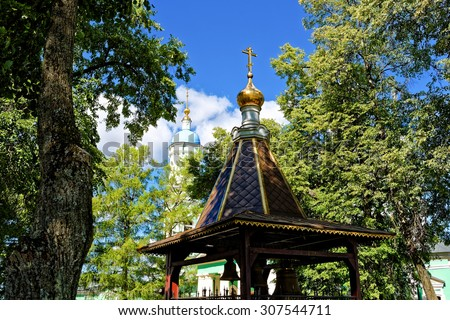 Optina Pustyn', Kozelsk, Kaluga region, Russia - August 16, 2015: Eastern Orthodox monastery for men. Belfry. - stock photo