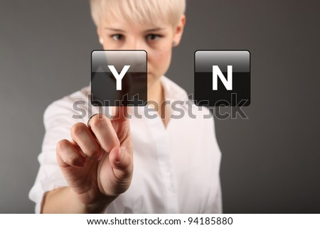 Options yes no concept - business woman touching screen - stock photo