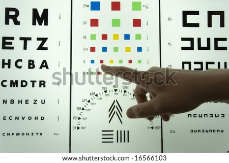 Optometrist finger showing eye chart - stock photo