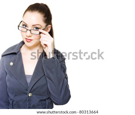 Optometry And Eye Vision Or Eyesight Concept With A Professional Female Business Optometrist Or Optician Holding Glasses In A Studio Portrait On White Copyspace