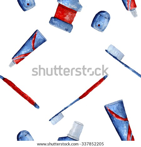 oral care red-blue pattern, hand-drawn watercolor - stock photo