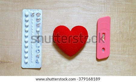 Oral contraceptive pills  and positive pregnancy test, Drug control is not complete - stock photo