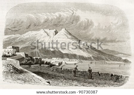Oran old view, Algeria. Created by Genet, published on Magasin Pittoresque, Paris, 1844 - stock photo