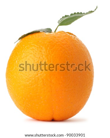 Orange. A detailed photo of exotic fruit on a white background