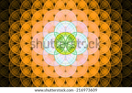 Orange abstract fractal background with a detailed decorative flower of life pattern spreading from the center which is in bright green and yellow colors - stock photo