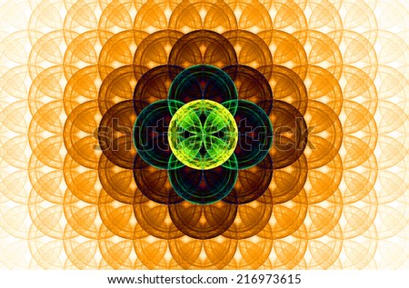 Orange abstract fractal background with a detailed decorative flower of life pattern spreading from the center which is in dark yellow, green and blue colors - stock photo