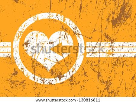 orange abstract raster business background for cards site with heart and arrow