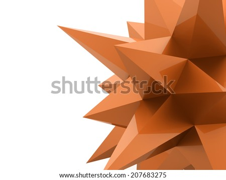 Orange abstract star rendered on white background - stock photo