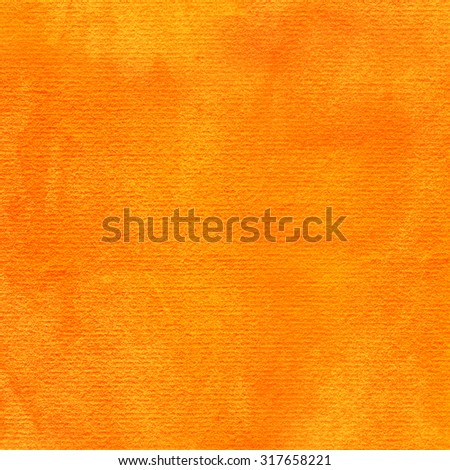 Orange abstract watercolor texture background. Colorful handmade technique aquarelle. Empty surface of square format with paper effect for your graphic design ideas - stock photo