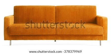 ORANGE ADJUSTABLE COUCH THAT TURNS INTO BED , ISOLATED ON WHITE - stock photo