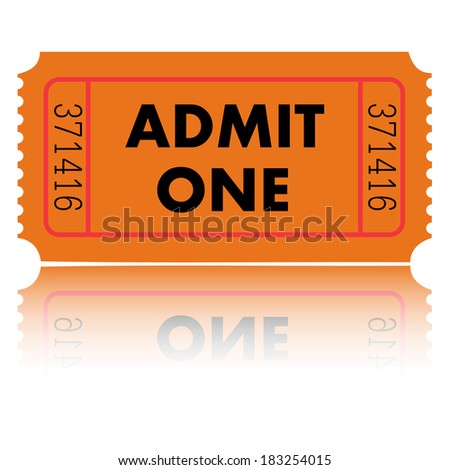Orange Admit One Ticket - stock photo