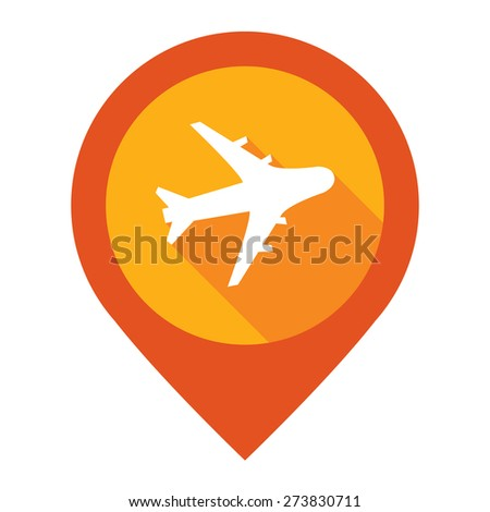 Orange Aeroplane, Airplane, Airport, Landing Field, or Logistic Map Pointer Icon Isolated on White Background  - stock photo