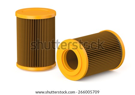 orange air filter for car isolated on white background