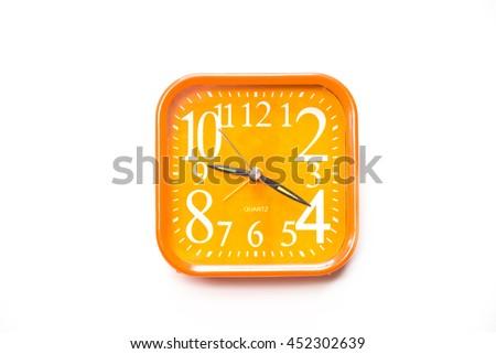 Orange alarm clock  isolated on white background,Close up orange alerm clock clipping path - stock photo