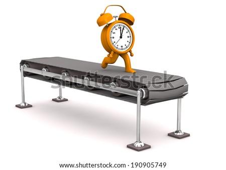Orange alarmer runs on the assembly line. White background. - stock photo