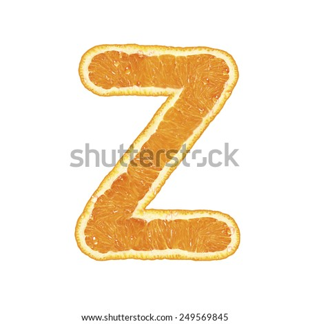 Orange alphabet isolated on white background (Letter Z)  - stock photo