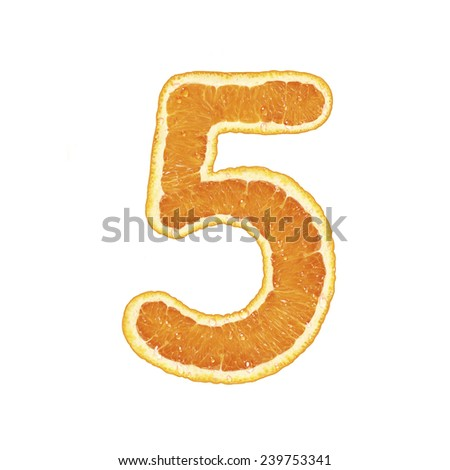 Orange alphabet  (number 5) - stock photo
