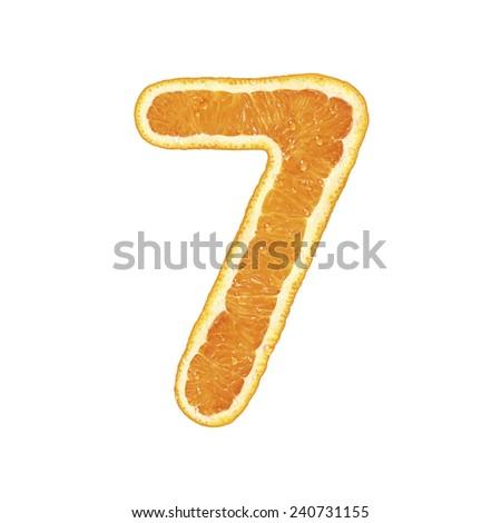 Orange alphabet (number 7)  - stock photo