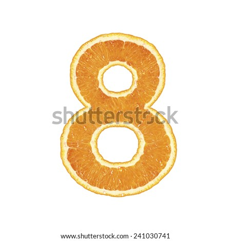 Orange alphabet (number 8)  - stock photo
