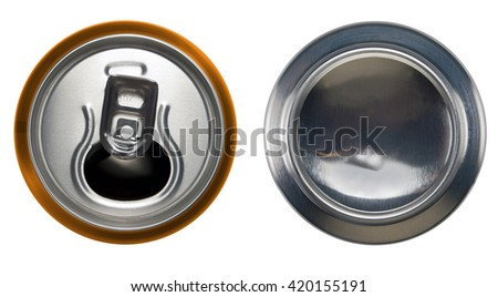 Orange aluminium open can and bottom can.