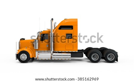 Orange american truck isolated on white background - stock photo