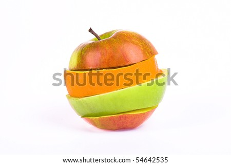 orange and apple slices isolated on white background