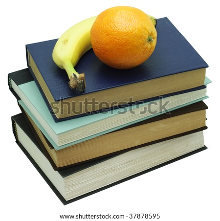 Orange and Banana on a stack of four old books. Isolated on white, saved with clipping path - stock photo
