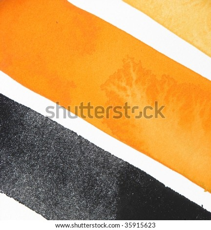orange and black abstract paint background stripes - stock photo