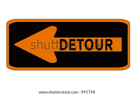 Orange and Black Detour Left Sign with a directional arrow sign isolated on a white background.