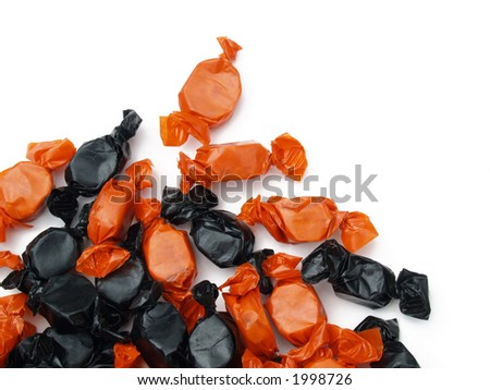 orange and black Halloween candy - stock photo