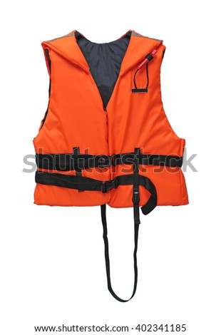 Orange and black life vest with rescue whistle isolated on white - stock photo