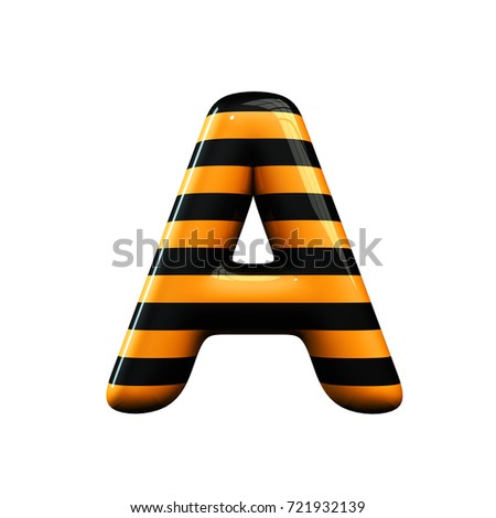 Orange and black striped hallowen letter A