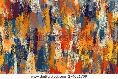 Orange and blue chalk background. Raster version - stock photo