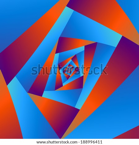 Orange and Blue Spiral / Digital abstract fractal image with a straight edged spiral design in orange and blue. - stock photo